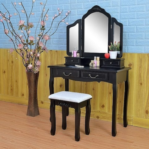 3-fold Wood Dressing Makeup Vanity Table Set with Stool&Mirror Black