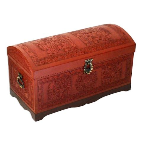 Handmade Sun and Sky Cedar and leather chest (Peru)