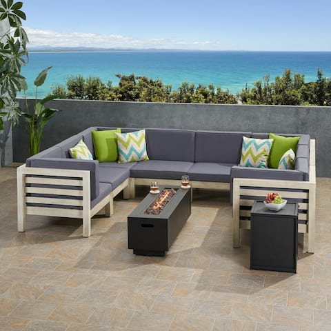 Malawi Outdoor 10 Piece U-Shaped Acacia Wood Sectional Sofa Set and Cushions with Fire Pit by Christopher Knight Home