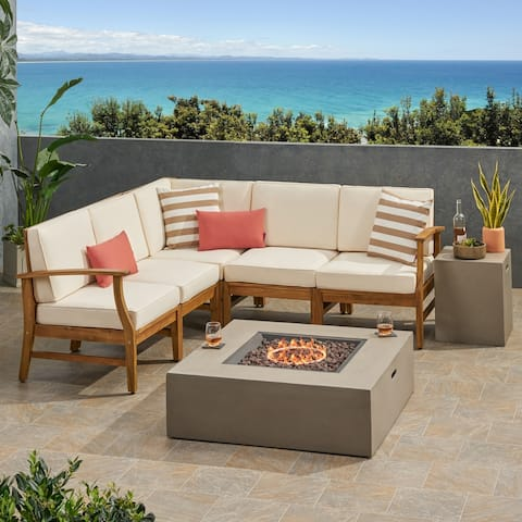 Illona Outdoor 5 Seater V-Shaped Acacia Wood Sofa Set with Square Fire Table and Tank by Christopher Knight Home