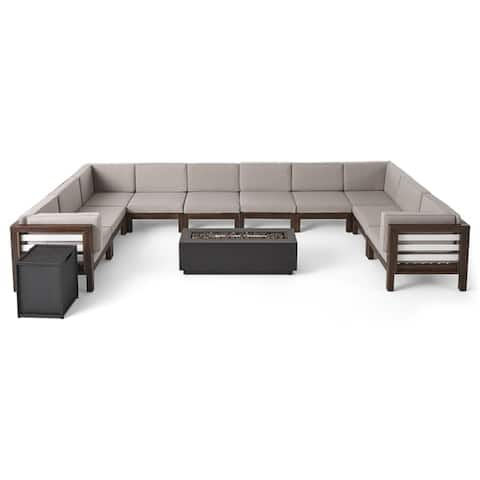 Malawi Outdoor 12 Piece U-Shaped Acacia Wood Sectional Sofa Set and Cushions with Fire Pit by Christopher Knight Home