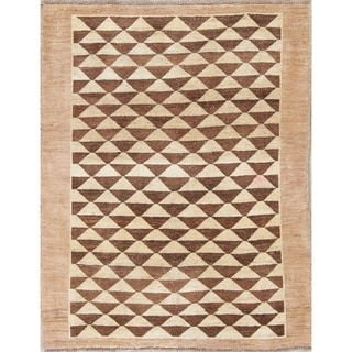 """Gabbeh Geometric Hand Knotted Wool Oriental Persian Area Rug - 4'9"""" x 3'7"""""""