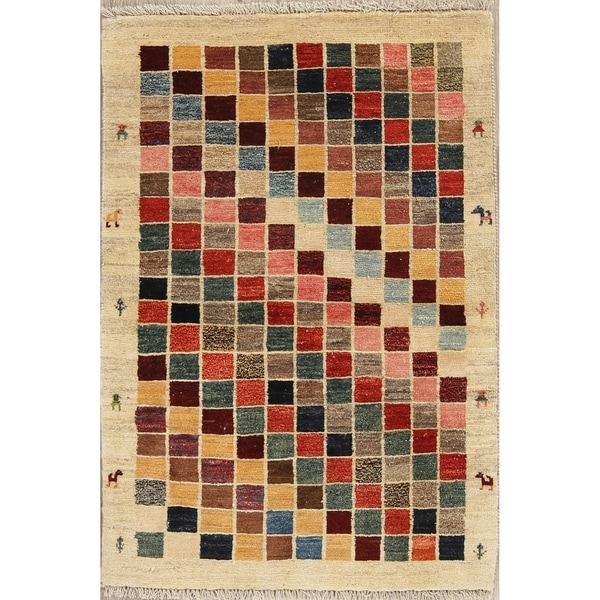 """Gabbeh Checked Hand Knotted Wool Oriental Persian Area Rug - 4'0"""" x 2'10"""""""