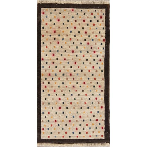 """Gabbeh All-Over Geometric Hand Knotted Wool Oriental Persian Area Rug - 4'10"""" x 2'6"""""""