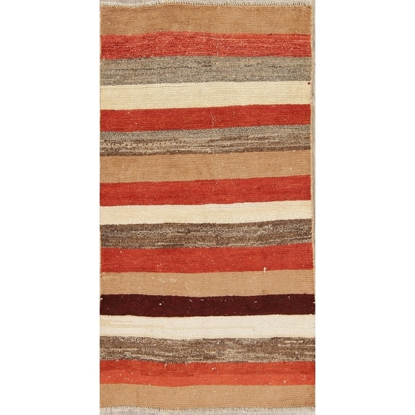 """Vintage Gabbeh Stripe Hand Knotted Wool Oriental Persian Area Rug - 5'5"""" x 2'11"""""""