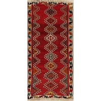 "Vintage Gabbeh Geometric Hand Knotted Wool Oriental Persian Rug - 5'7"" x 2'7"" Runner"