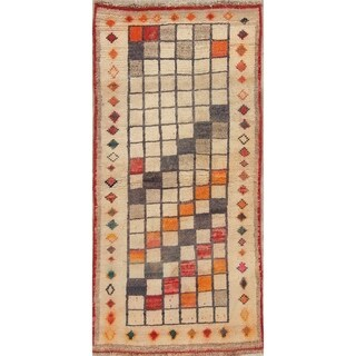 """Gabbeh Geometric Checked Hand Knotted Wool Oriental Persian Area Rug - 4'9"""" x 2'9"""""""