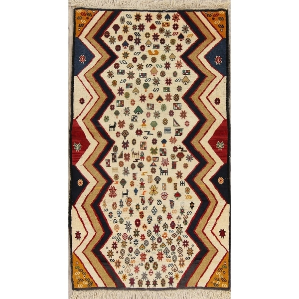 """Gabbeh Geometric Hand Knotted Wool Oriental Persian Area Rug - 4'11"""" x 2'9"""""""