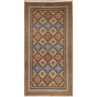 """Vintage Yazd Geometric Hand Knotted Wool Oriental Persian Area Rug - 5'0"""" x 2'7"""""""