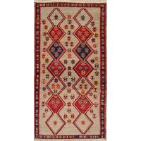 "Gabbeh Geometric Hand Knotted Wool Oriental Persian Rug - 6'7"" x 2'10"" Runner"