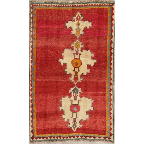 """Vintage Gabbeh Geometric Hand Knotted Wool Oriental Persian Area Rug - 4'7"""" x 3'8"""""""
