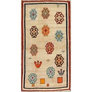 """Vintage Gabbeh Geometric Hand Knotted Wool Oriental Persian Area Rug - 5'3"""" x 3'0"""""""