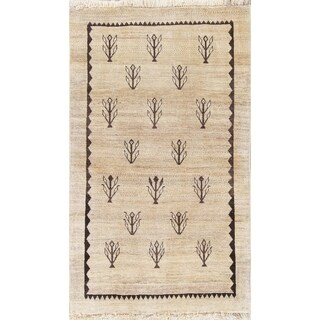 "Gabbeh Geometric Hand Knotted Wool Oriental Persian Area Rug - 4'10"" x 2'10"""