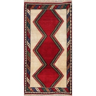"""Vintage Gabbeh Geometric Hand Knotted Wool Oriental Persian Area Rug - 5'0"""" x 3'5"""""""