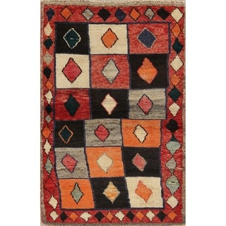 "Gabbeh Geometric Hand Knotted Wool Oriental Persian Area Rug - 4'5"" x 2'11"""