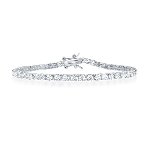 "La Preciosa Sterling Silver/Gold/ Rose Gold 4mm Round Cubic Zirconia Tennis 7.5"" Bridal Bracelet. Opens flyout."
