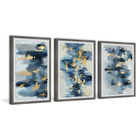 Marmont Hill - Handmade Blue Florals Triptych