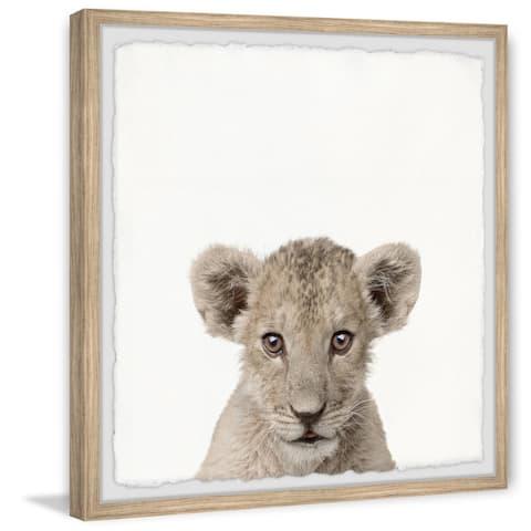 Taylor & Olive Handmade Lion Cub in White Framed Print
