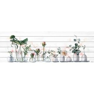 Handmade White Vases Print on White Wood