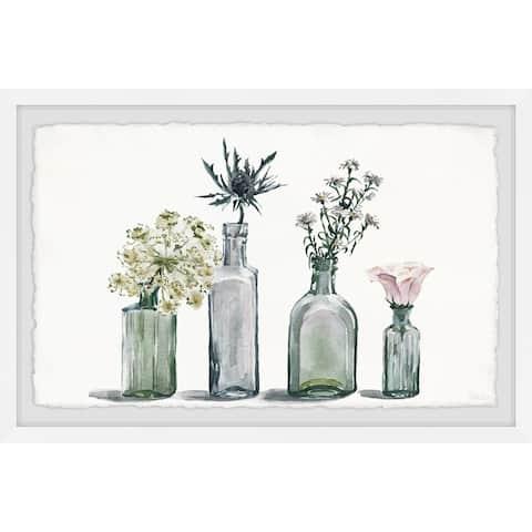 Handmade Four Bottle Blooms Framed Print