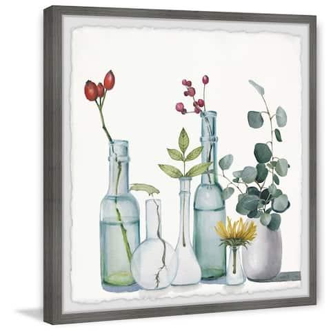 Clear Bottles' Framed Painting Print - Multi-color