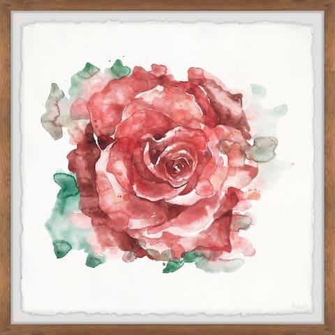 Handmade Red Rose Smudge Framed Print