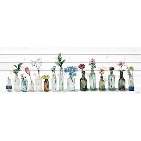Handmade Line Up Print on White Wood