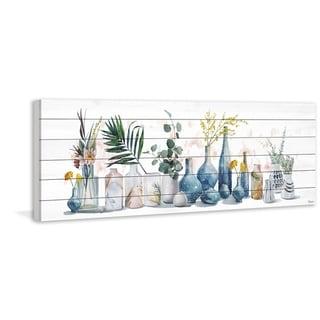 Handmade All the Vases Print on White Wood