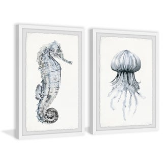 Handmade Seahorse and Jellyfish Diptych