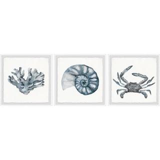 Handmade Bluish-Gray Sea Triptych