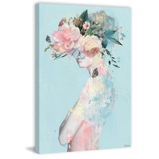 Handmade Flowerand Butterflies Print on Wrapped Canvas
