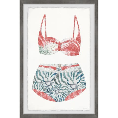 Porch & Den 'Flamingo Summer Swimsuit' Framed Painting Print