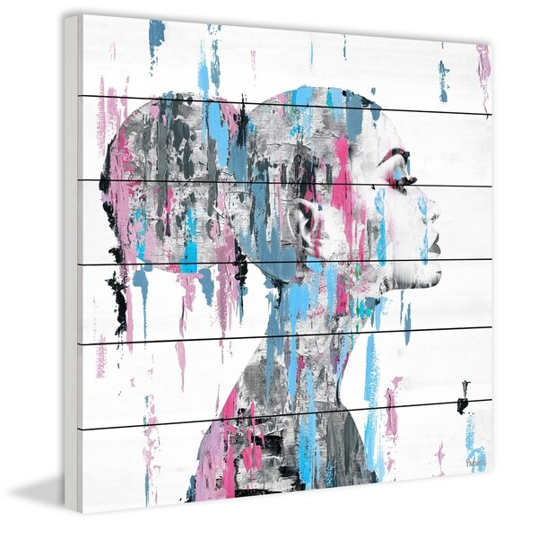 Handmade Pink Blue Face Smudges Print on White Wood