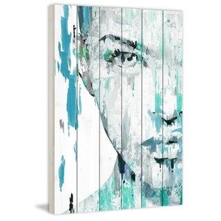 Handmade Half Face Portrait Print on White Wood