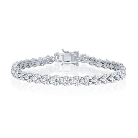 "La Preciosa Sterling Silver Triple Row Marquise-Shaped Cubic Zirconia 7.5"" Bridal Tennis Bracelet"