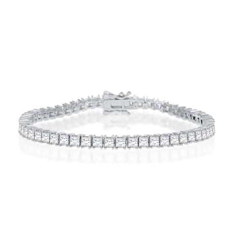 """La Preciosa Sterling Silver 3X3mm Princess Cubic Zirconia 7.5"""" Bridal Tennis Bracelet"""