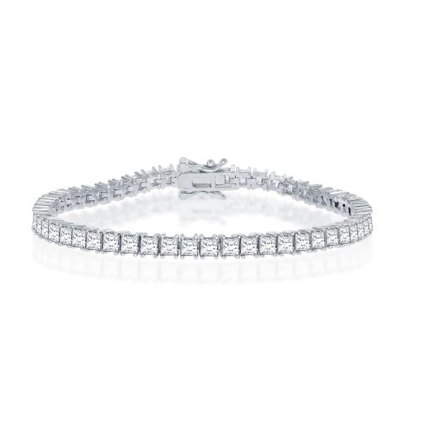 "La Preciosa Sterling Silver 3X3mm Princess Cubic Zirconia 7.5"" Bridal Tennis Bracelet. Opens flyout."