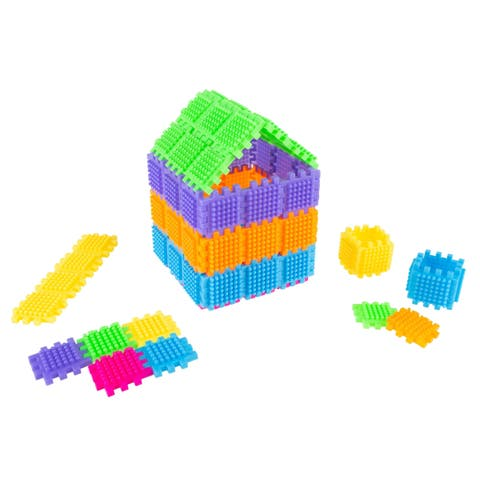 Building Set- 182 Pc. Brush Shape Tile for 3D STEM, Building- Creative Play for Toddlers and Preschoolers by Hey! Play!