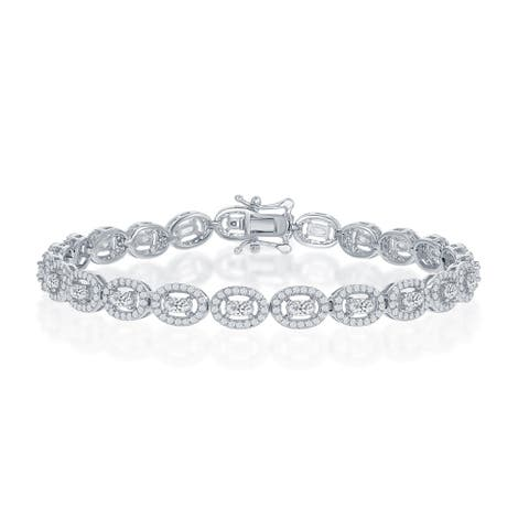 "La Preciosa Sterling Silver Halo Cubic Zirconia Oval 7.5"" Linked Bridal Tennis Bracelet"
