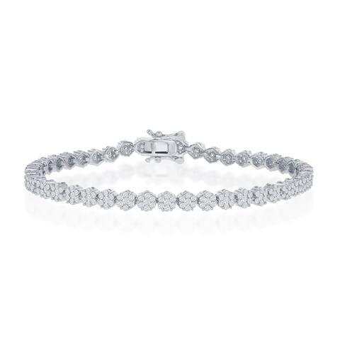 "La Preciosa Sterling Silver 4mm Flower Design Cubic Zirconia 7.5"" Bridal Tennis Bracelet"