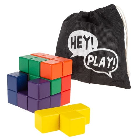 Geometric Puzzle Cube- Colorful Wooden Block Spatial Learning and Logic Educational Toy for Kids and Toddlers by Hey! Play!