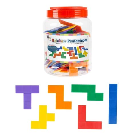 Rainbow Pentominoes- 72 Pc. Set Colorful Plastic Tile Puzzle with Storage Case- Educational Activity For Kids by Hey! Play!