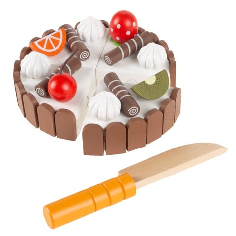 Birthday Cake- Wooden Magnetic Pretend Play Food with Cutting Knife, Fruit Toppings, Chocolate and Vanilla Swirls by Hey! Play!