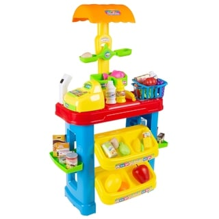 Grocery Store Selling Stand Playset with Cash Register, Scanner, Play Money, Shopping Basket and 28 Pc. of Food by Hey! Play!