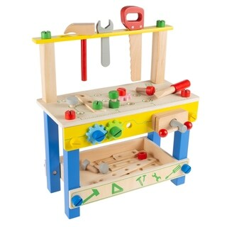 Link to Toy Workbench- Wood Pretend Play Tabletop Building Workshop and Tool Playset with Accessories- STEM Education by Hey! Play! Similar Items in Building Blocks & Sets