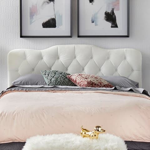 Simple Living Tessa Upholstered Button Tufted Queen Headboard
