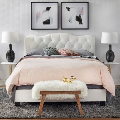 Simple Living Tessa Upholstered Wooden Queen-Size Bed