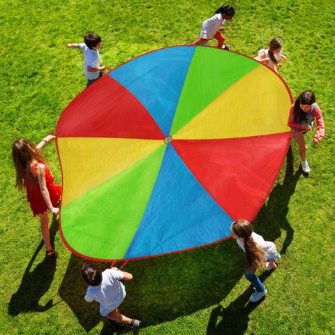 Activity Parachute-Large 8 Ft. Colorful Kids Canopy with 8 Handles- Play Equipment for Playground, or Gym Class by Hey! Play!