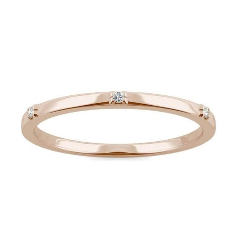 Moissanite by Charles & Colvard 14k Rose Gold Accented Stackable Band