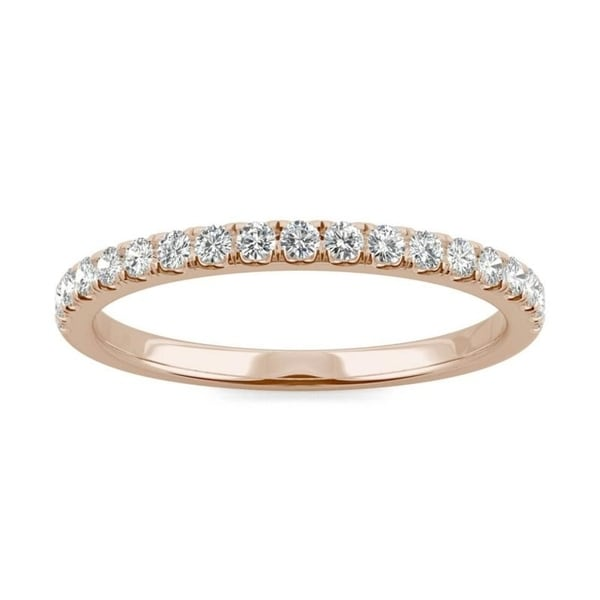 Moissanite by Charles & Colvard 14k Rose Gold 1/3ct DEW Traditional Wedding Band. Opens flyout.
